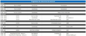 Programme du week-end du 14 et 15 septembre 2019