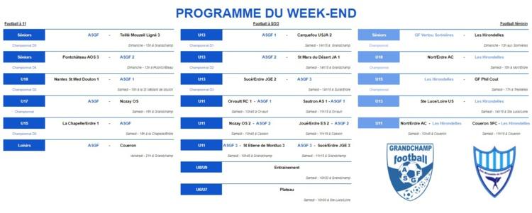 Programme du week-end des 5 et 6 octobre 2019