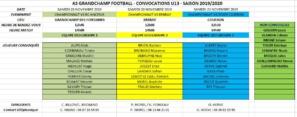 Convocations U13 pour le samedi 23 novembre 2019