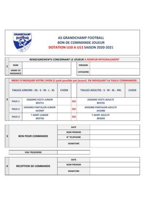 Dotation U10 à U13 saison 2020/2021