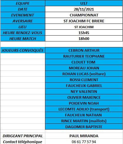 CONVOCATIONS U17 DU 16/10/2021