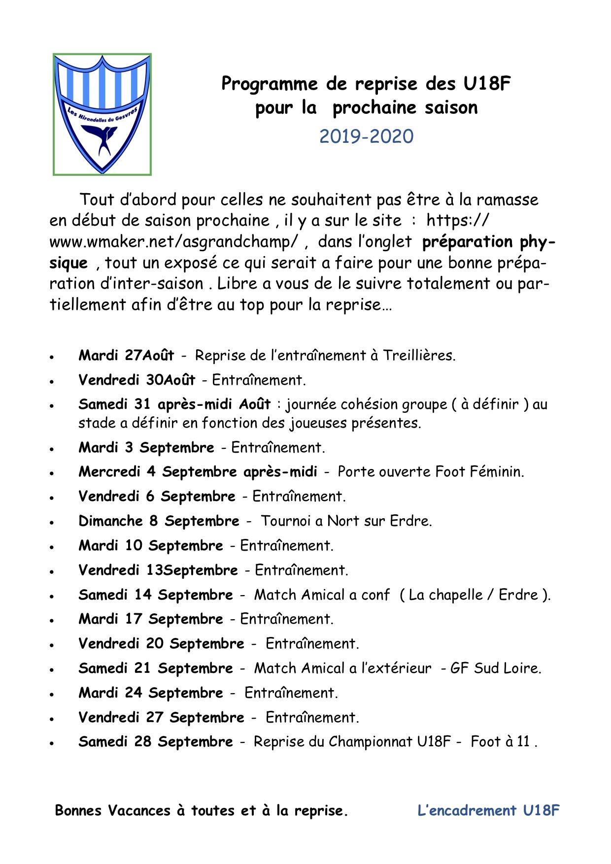 Programme de reprise U18F