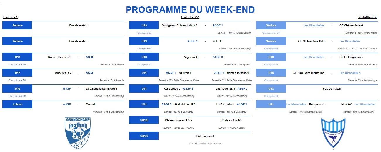 Le programme du week-end du 7 décembre 2019