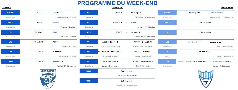 Programme du week-end du 16 janvier 2020 !