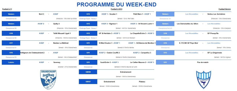 Programme du week-end du 25 janvier 2020 !