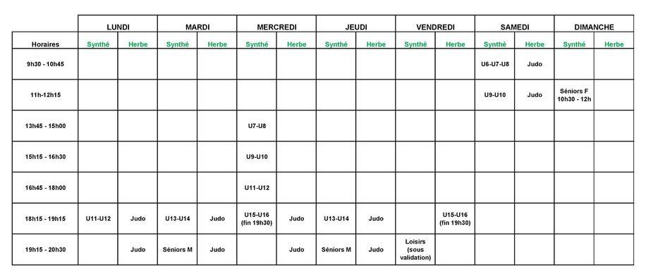 Nouveaux horaires d'entrainement !