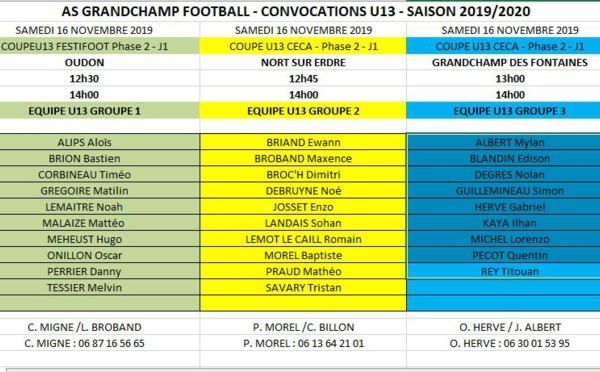 Convocations U13 pour le samedi 16 novembre 2019